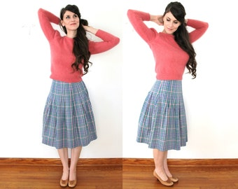 60s Plaid Skirt / 1960s High Waisted Colorful Plaid Pleated Skirt