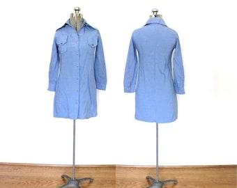 ON SALE 1970s Mini Dress / 70s Chambray Blue Western Mini Dress