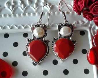 Vintage Heart Earrings,Valentine's Day