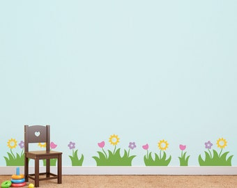 Grass and Flowers Wall Decal - Set of 7 Grass Patches with flowers - Grass Decals - Kids Bedroom Decal
