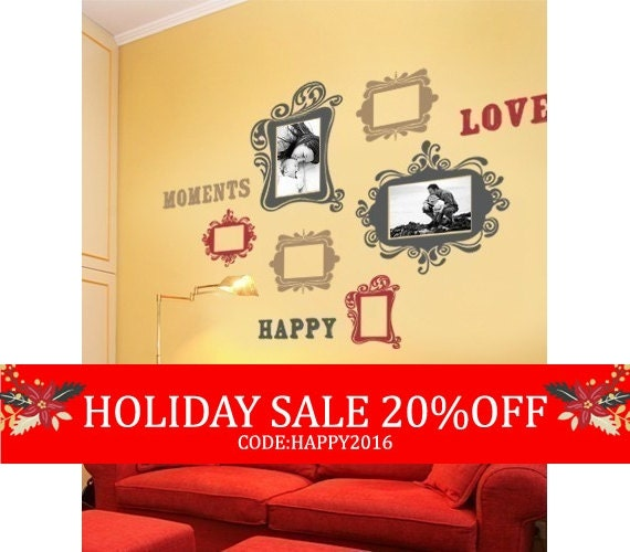 Holiday Sale - Vintage Photo Frames Deluxe Three Color - Vinyl Wall Sticker