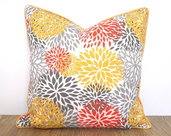 Gray outdoor pillow case 18x18,flower cushion case, yellow outdoor cushion piping, flower outdoor pillow cover grey and orange decor