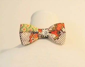 Men's bow tie made with vintage KIMONO silk satin crape shibori pattern flower wave brown white orange green fits 15 -20inch ready to ship