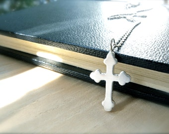 Her cross necklace sterling silver cross pendant - Gethsemane unique cross faith jewelry gift idea for her - Small cross silver keepsake