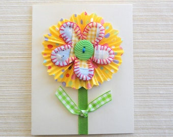 Easter greeting card, flower, handmade birthday card, hand stitched, vintage quilt, thank you note card, paper goods, OOAK