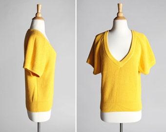 Vintage Sunshine Yellow Deep V Sweater - Top Shirt Knit Rib 1980's Womens V Neck Short Sleeve Raglan 100% Cotton - Size Medium