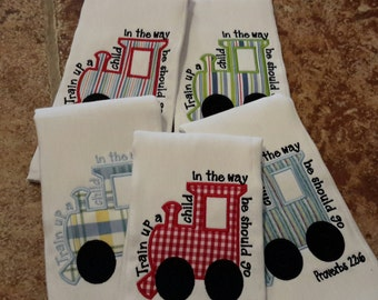 Burp cloth//boy burp cloth//train burp cloth//baby shower gift