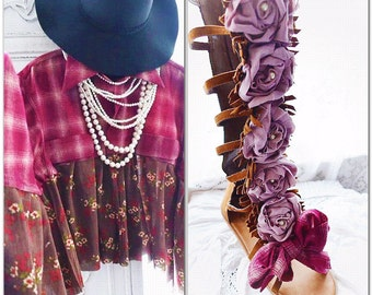 Fall flannel poncho top, Boho top, Romantic bohemian gypsy fall shirt, Chocolate brown and pink, Shabby cottage chic top True rebel clothing