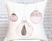 Pillow Cover Christmas Pillow Pastel Blush Ornaments