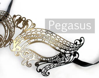 Gold and Black elven court Venetian Filigree Scroll work Metal  Masquerade Mask (1 Piece, 5 color options) Aluminum Laser Cut Mask Made