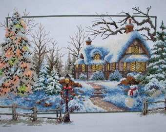 New Finished Completed Cross Stitch - Winter scenery - L14