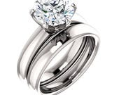 Reserved for Angela 9MM round White Sapphire Engagement Ring in 14kt White Gold
