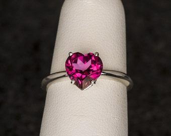 AA Mystic Pink Topaz Nickel Free Sterling Heart Ring, Topaz Birthstone Ring, Valentine's Gift