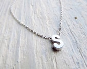 Silver Letter Necklace, Tiny Initial Necklace, Letter Jewelry, Silver Letter Charm, Customizable Gift, Personalize Necklace, Layered Jewelry