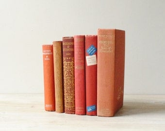 Vintage Book Set, Red Filler Books Hard Bound with Cloth Covers