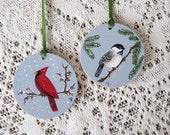 Christmas Ornaments Hand Painted on Wood - Chickadee and Cardinal Birds Winter Scene