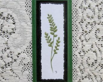 Bookmark Maidenhair Fern -  Hand made from artist Original Watercolor Print - Garden Meadow Forest - Laminated