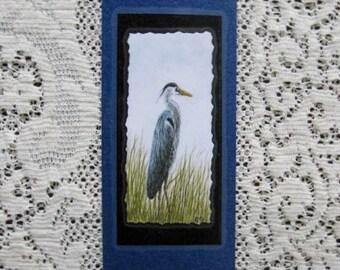 Bookmark HERON -  Hand made from artist Original Watercolor Print - Bird - Laminated
