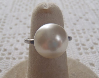 Vintage Pearl Ring Sterling Silver Setting Size 5