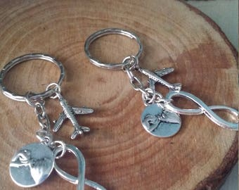 Long distance best friends pinky promise infinity set of two silver keychains