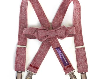 Red Linen Bow Tie and Suspenders Set boys bowties Ring Bearer Outfit red chambray linen tie bowtie and suspenders boys ties boys bowties