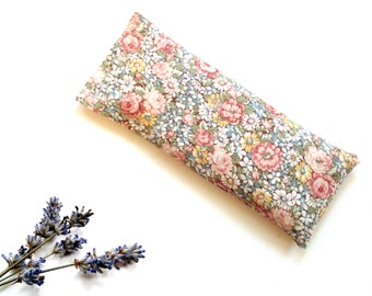 Organic lavender eye pillow, floral print, spa gift for her, relaxing soothing yoga meditation hot cold pack, Mothers day