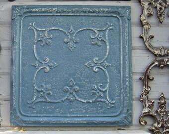 "Antique Tin Ceiling Tile. Framed 24"" antique metal tile.  Vintage architectural salvage. Dresden blue wall decor. Old pressed tin."