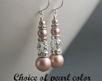 Long Bridal Earrings Bridal Jewelry Bridesmaids Gift Wedding Bridal Party Gift Bridesmaids Jewelry Ivory White Champagne Pearls rhinestone