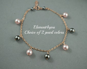 Bridal bracelet rose gold filled Bridesmaid jewelry Swarovski pearls dangle on rose gold filled chain Wedding jewelry Maid of honor gift