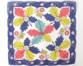 Handkerchief Blue Yellow Red Green Leaves Vintage