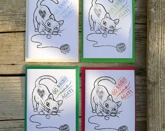 Cheeky Cat Thanks Irish Language Cards 3 Pack