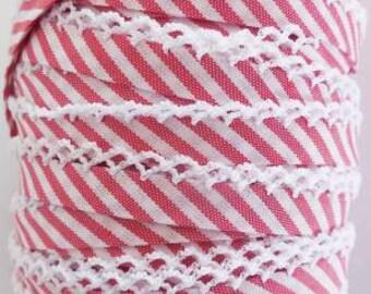 Red Stripe Double Fold Crochet Edge Bias Tape - 1 yard - Vintage Door - Spain cotton/poly blend