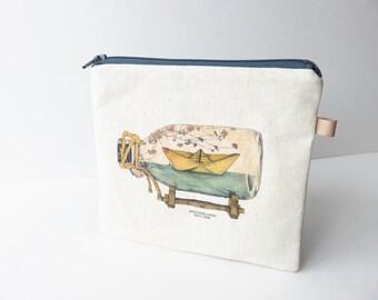 Linen Art Fabric Medium zippered coin purse