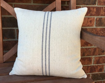 Grain Sack / Ticking Pillow Cover New Blue Stripe