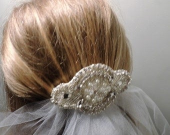 First Holy Communion Veil with beaded embellishment applique comb