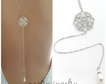 Back Drop Bridal Necklace, Crystal Back Wedding Necklace, Bridal Backdrop Necklace, Simple Long Back Necklace, Sadie