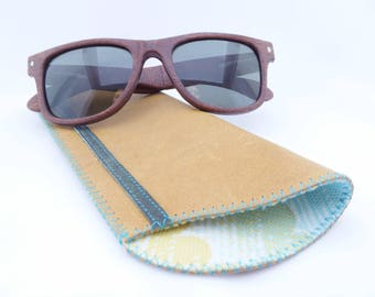 Leather Sunglass Case / Leather Eyeglass Case / Mustard and Green Leather and Vintage  Lining