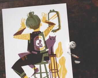 top knot - archival art print