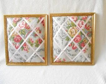 2 padded Notice Boards Home Storage Cottage Chic Framed Floral Gold