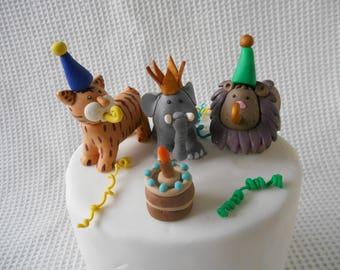 Animal Pary Cake topper Celebration Party Lion Tiger Elephant Jungle Childs Birthday Cake Party Decoration