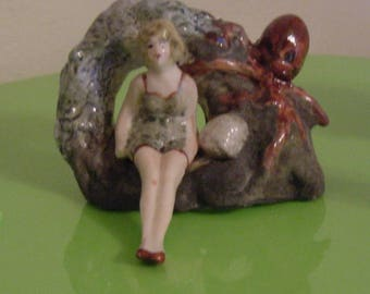 octopus and Bathing Beauty Aquarium Decoration