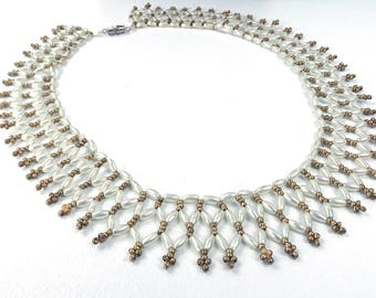 vintage 60s 70s dainty pearl collar beaded necklace white choker women accessories jewelry delicate wedding bride bridal summer june gold