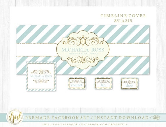 Premade DIY Facebook Set | Facebook Timeline | Facebook Package | Facebook Graphics | Business Branding | INSTANT DOWNLOAD-AA109