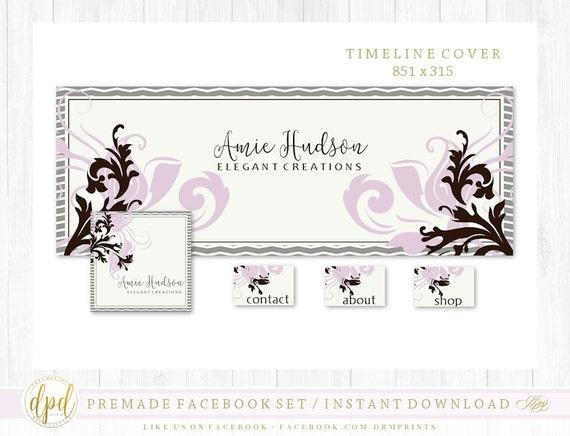 Premade DIY Facebook Set | Facebook Timeline | Facebook Package | Facebook Graphics | Business Branding | INSTANT DOWNLOAD-AA117