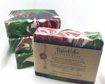 Yuletide Silk and Shea Artisan Soap - Cold Process Soap, Handmade Soap, Holiday Soap