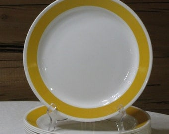 "Discontinued Corelle ""Yellow Sundance"" Set of 9 Dinner Plates"