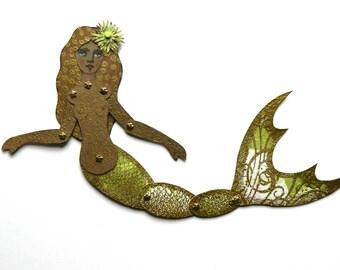 Mermaid Paper Art Doll, Black Mermaid, Melanated Mermaid, Art Doll,  Green Mermaid Doll, Mermaid, Articulated Paper Doll, Jointed mermaid