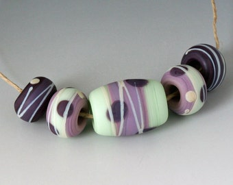 Southwest BHB 5mm Set - (5) Handmade Lampwork Beads - Green, Purple - Etched, Matte