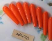 Vintage One Hole Beads Glass Teardrop Orange Japan Long NOS 1 hole Rare Drops Dangles  Retro (1264J)