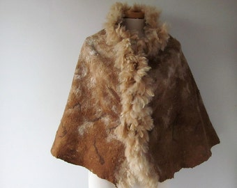 Felted alpaca poncho Felted scarf Alpaca Women scarf beige  brown shawl alpaca wrap natural fur wrap felted wrap alpaca wool cape Galafilc